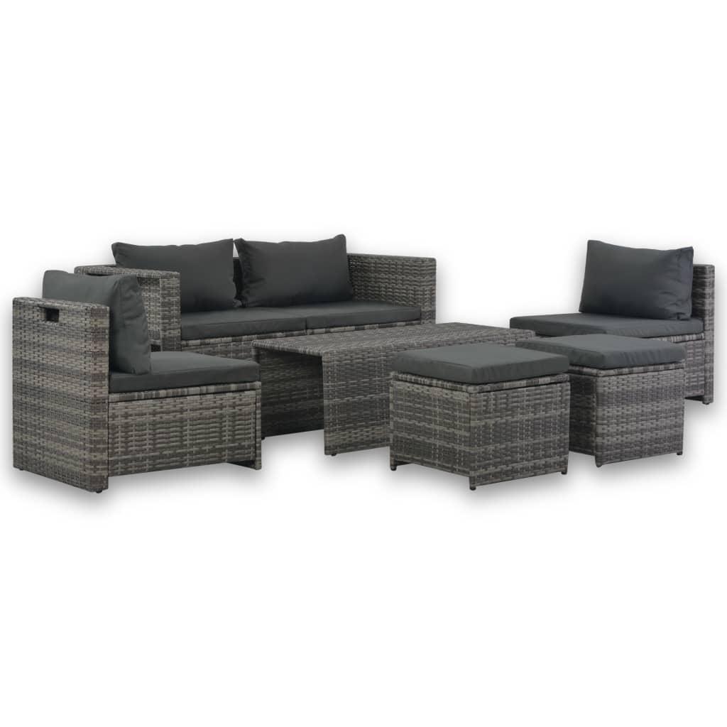 vidaXL 6dílná zahradní sedací souprava s poduškami polyratan šedá