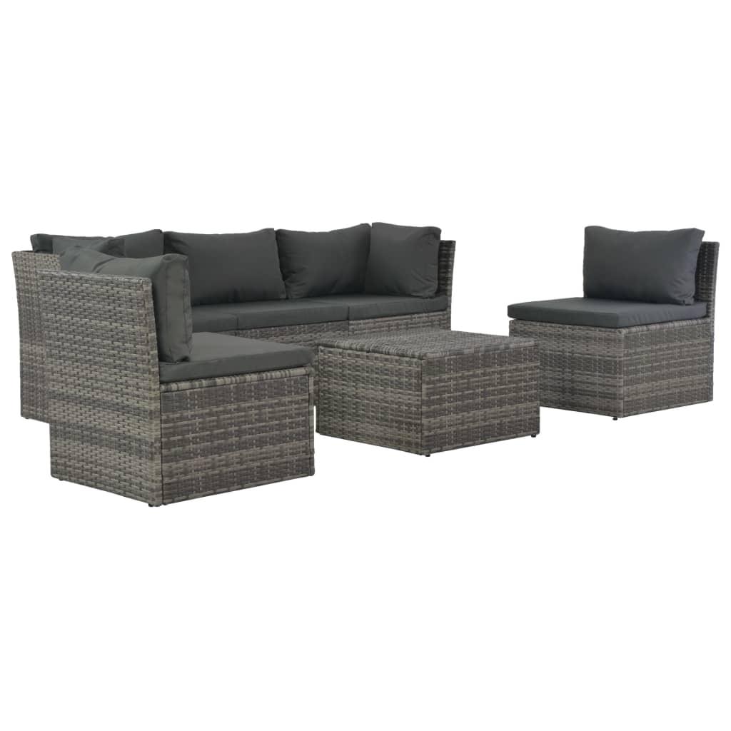 4dílná zahradní sedací souprava s poduškami polyratan šedá