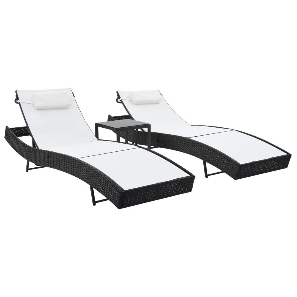 vidaXL Șezlonguri de plajă cu masă 2 buc. negru poliratan & textilenă vidaxl.ro