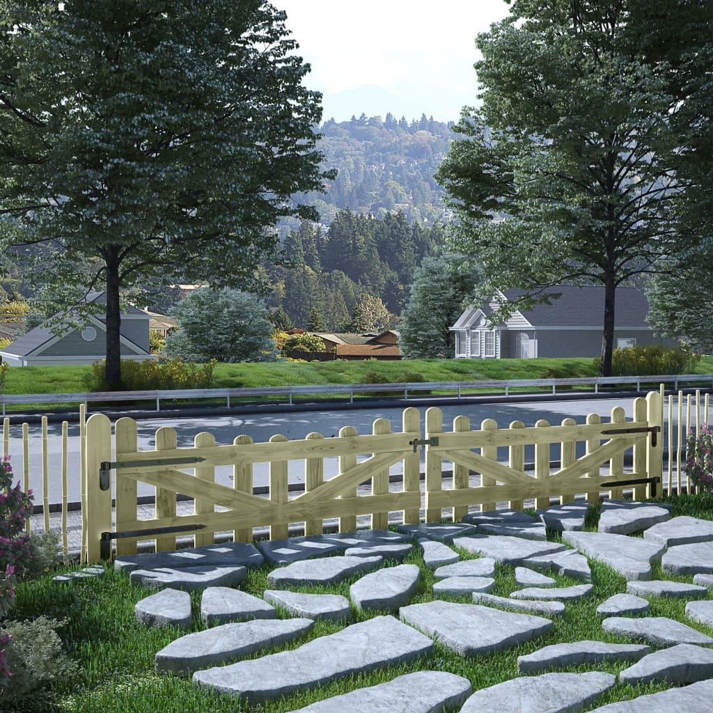 vidaXL Porți de grădină, 2 buc., 150 x 60 cm, lemn de pin tratat poza 2021 vidaXL