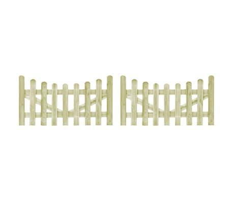 vidaXL Portão de jardim 2 pcs 150x80 cm pinho impregnado