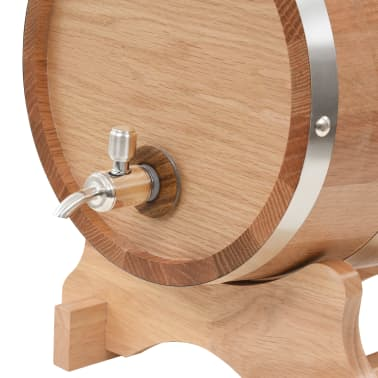 vidaXL Tonneau à vin avec robinet Chêne massif 12 L[5/9]