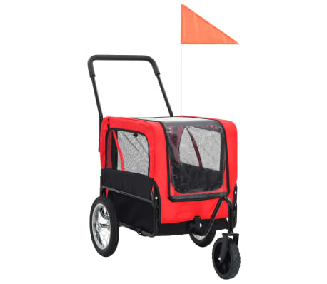 vidaXL 2-in-1 Pet Bike Trailer & Jogging Stroller Red and Black