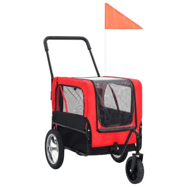 vidaXL 2-in-1 Pet Bike Trailer & Jogging Stroller Red and Black[1/12]