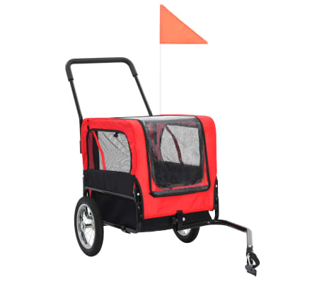 vidaXL 2-in-1 Pet Bike Trailer & Jogging Stroller Red and Black[2/12]