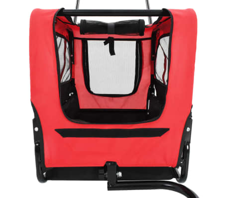 vidaXL 2-in-1 Pet Bike Trailer & Jogging Stroller Red and Black[5/12]