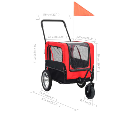 vidaXL 2-in-1 Pet Bike Trailer & Jogging Stroller Red and Black[9/12]