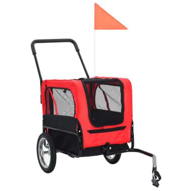 vidaXL 2-in-1 Pet Bike Trailer & Jogging Stroller Red and Black[11/12]