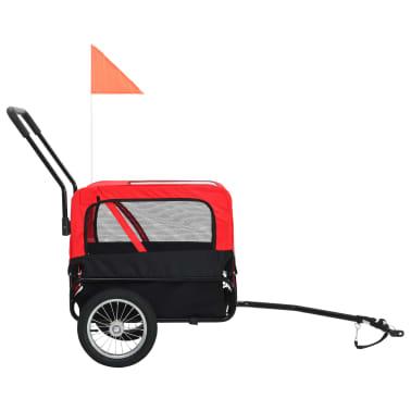 vidaXL 2-in-1 Pet Bike Trailer & Jogging Stroller Red and Black[3/12]
