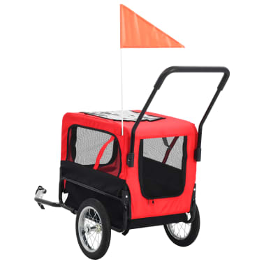 vidaXL 2-in-1 Pet Bike Trailer & Jogging Stroller Red and Black[4/12]
