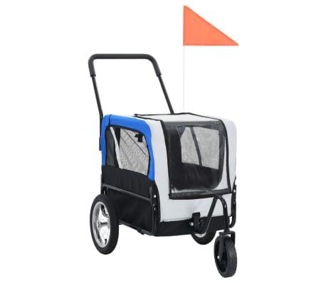 vidaXL 2-in-1 Pet Bike Trailer & Jogging Stroller Gray and Blue