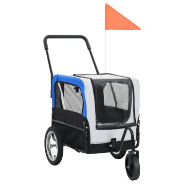 vidaXL 2-in-1 Pet Bike Trailer & Jogging Stroller Gray and Blue[1/12]