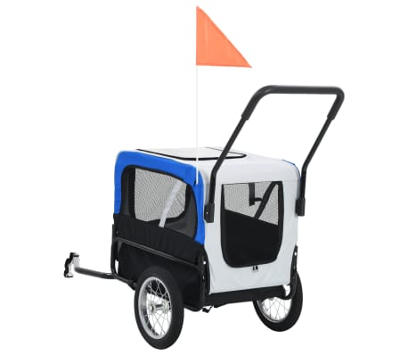 vidaXL 2-in-1 Pet Bike Trailer & Jogging Stroller Gray and Blue[4/12]