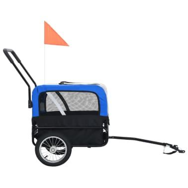 vidaXL 2-in-1 Pet Bike Trailer & Jogging Stroller Gray and Blue[3/12]