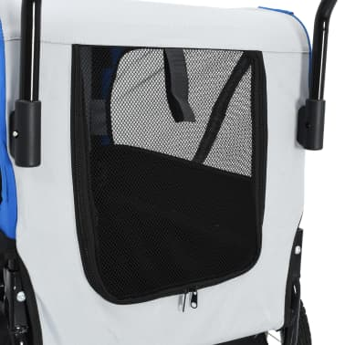 vidaXL 2-in-1 Pet Bike Trailer & Jogging Stroller Gray and Blue[6/12]