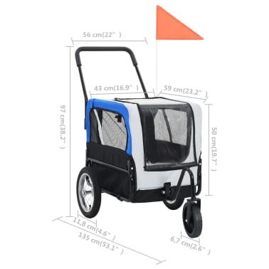 vidaXL 2-in-1 Pet Bike Trailer & Jogging Stroller Gray and Blue[9/12]