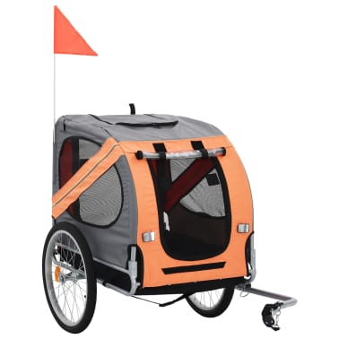 vidaXL Dog Bike Trailer Orange and Brown[1/7]