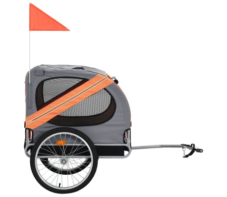 vidaXL Dog Bike Trailer Orange and Brown[2/7]
