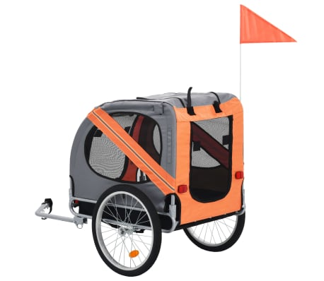vidaXL Dog Bike Trailer Orange and Brown[3/7]