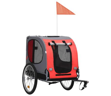 vidaXL Remorque de vélo pour chiens Rouge et noir
