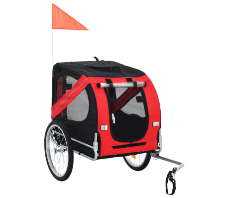 vidaXL Dog Bike Trailer Red and Black