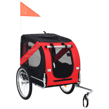 vidaXL Dog Bike Trailer Red and Black[1/7]