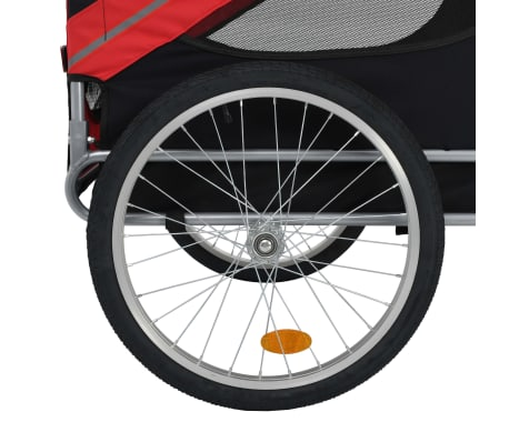 vidaXL Dog Bike Trailer Red and Black[4/7]