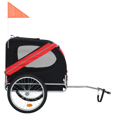 vidaXL Dog Bike Trailer Red and Black[2/7]