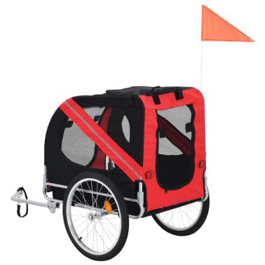 vidaXL Dog Bike Trailer Red and Black[3/7]