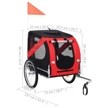 vidaXL Dog Bike Trailer Red and Black[7/7]