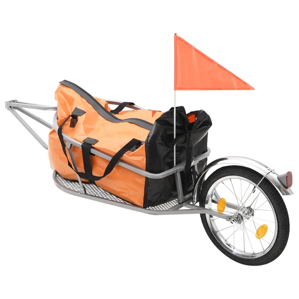vidaXL Přívěsný vozík za kolo s taškou oranžovo-černý