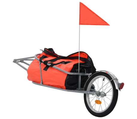 vidaXL Bike Luggage Trailer with Bag Orange and Black