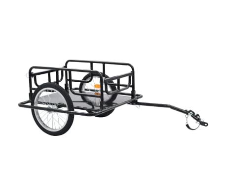 vidaXL Товарно ремарке за колело, 130x73x48,5 см, стомана, черно-picture