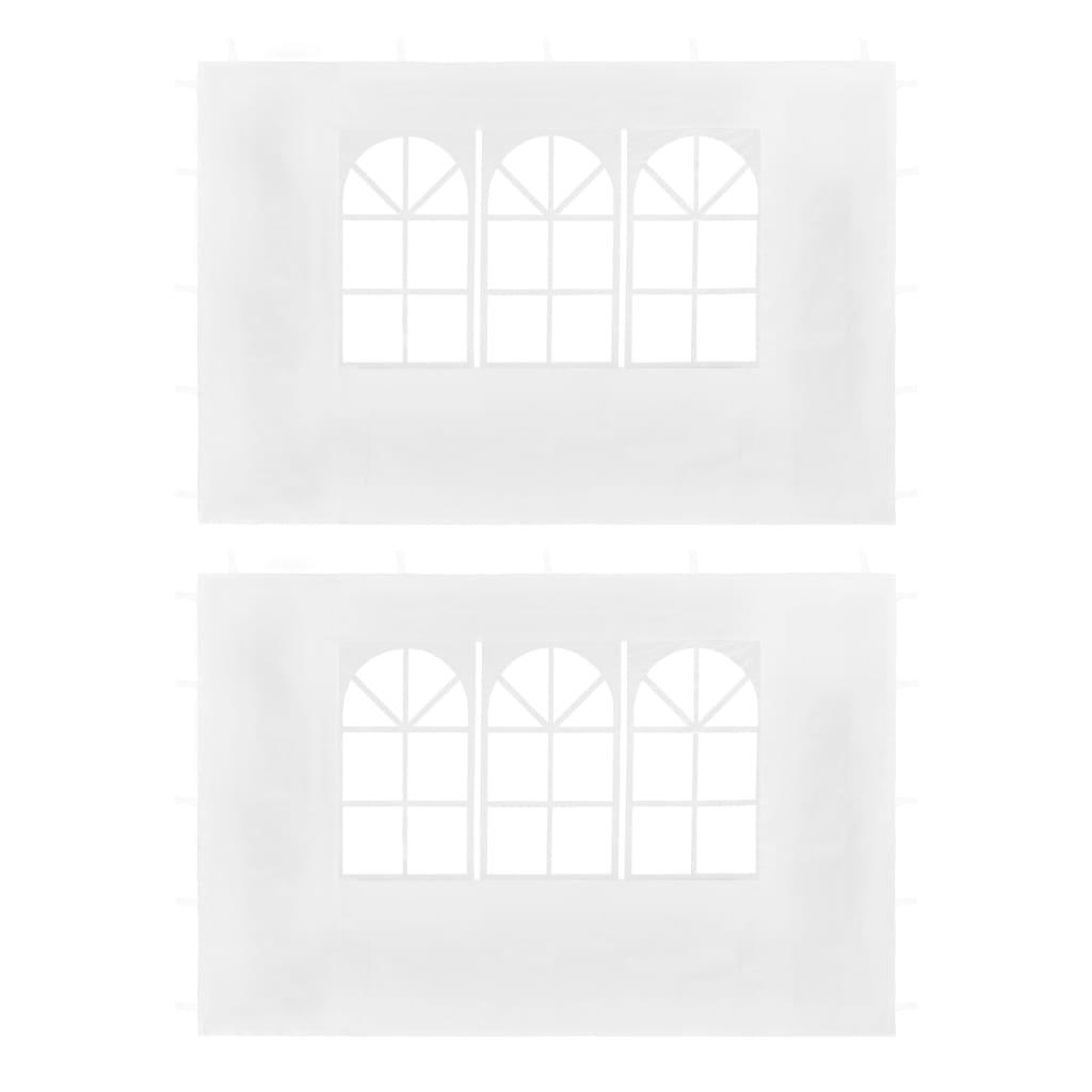 vidaXL Pereți laterali cort petrecere, 2 buc., alb, cu fereastră