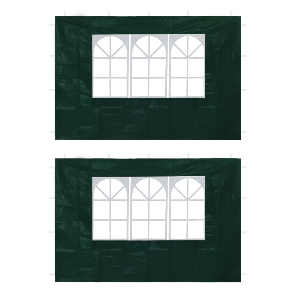 vidaXL Pereți laterali cort petrecere, 2 buc., verde, cu fereastră vidaxl.ro