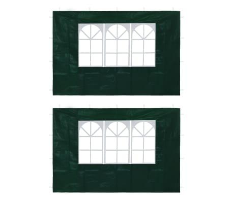 vidaXL Partyzelt-Seitenwände 2 Stück mit Fenster Grün