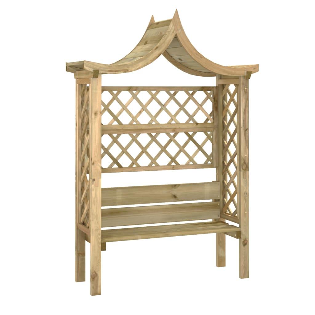 vidaXL Pergolă de grădină cu acoperiș și bancă, lemn pin tratat vidaxl.ro