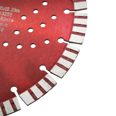 vidaXL Disque de coupe diamanté avec turbo et trous Acier 300 mm[3/4]