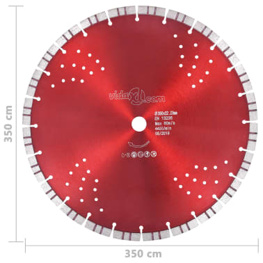 vidaXL Disque de coupe diamanté avec turbo et trous Acier 350 mm[4/4]