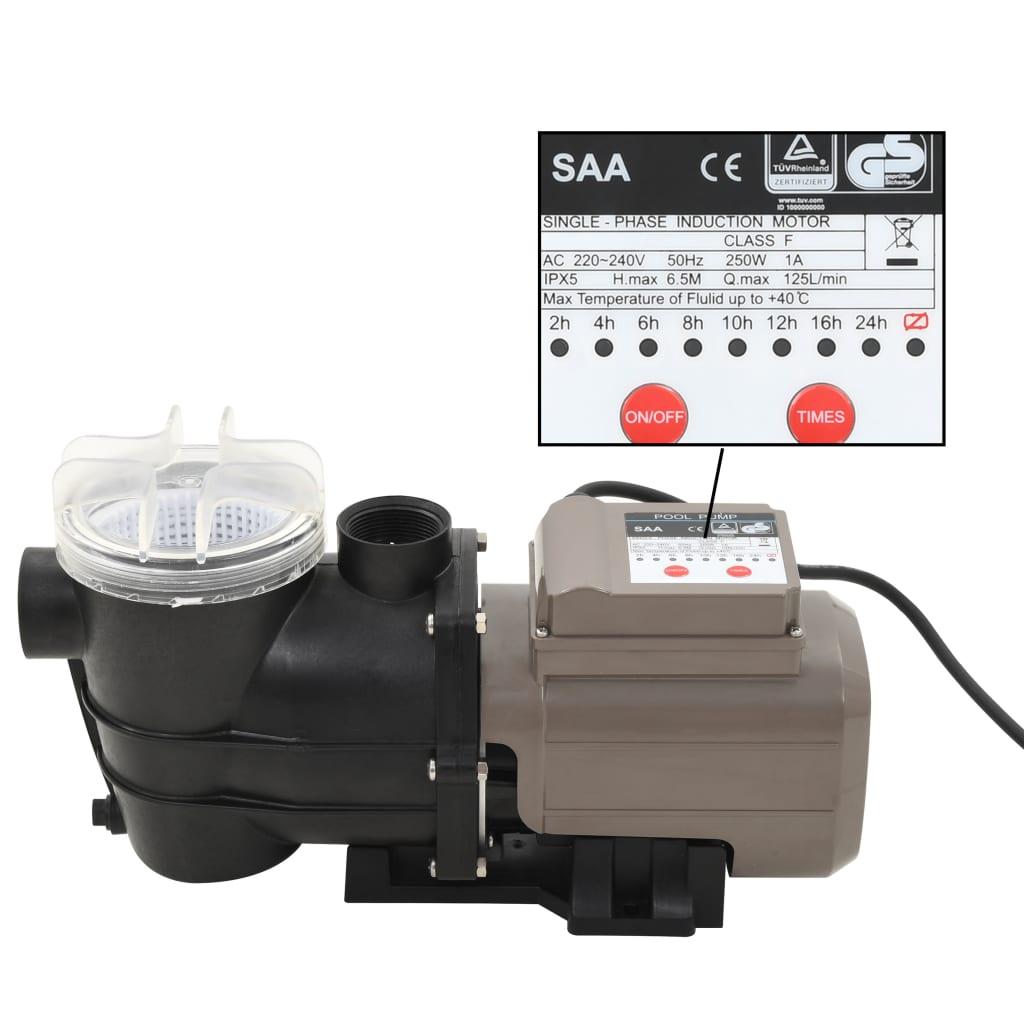 vidaXL Pompă de piscină cu temporizator, negru, 0,25 CP, 8000 L/h poza vidaxl.ro