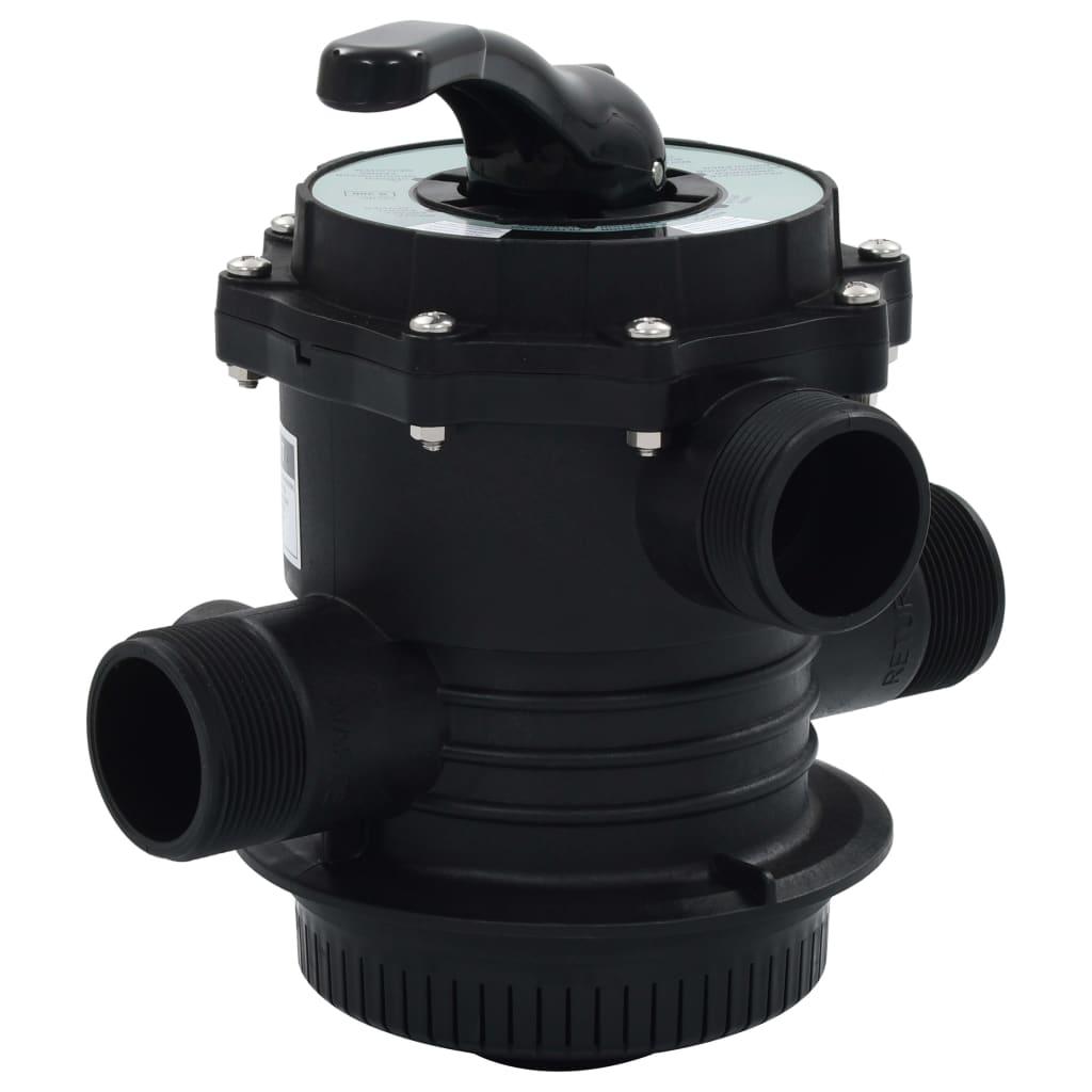 """vidaXL Supapă multiport pentru filtre cu nisip, ABS, 1,5"""", 6 căi imagine vidaxl.ro"""