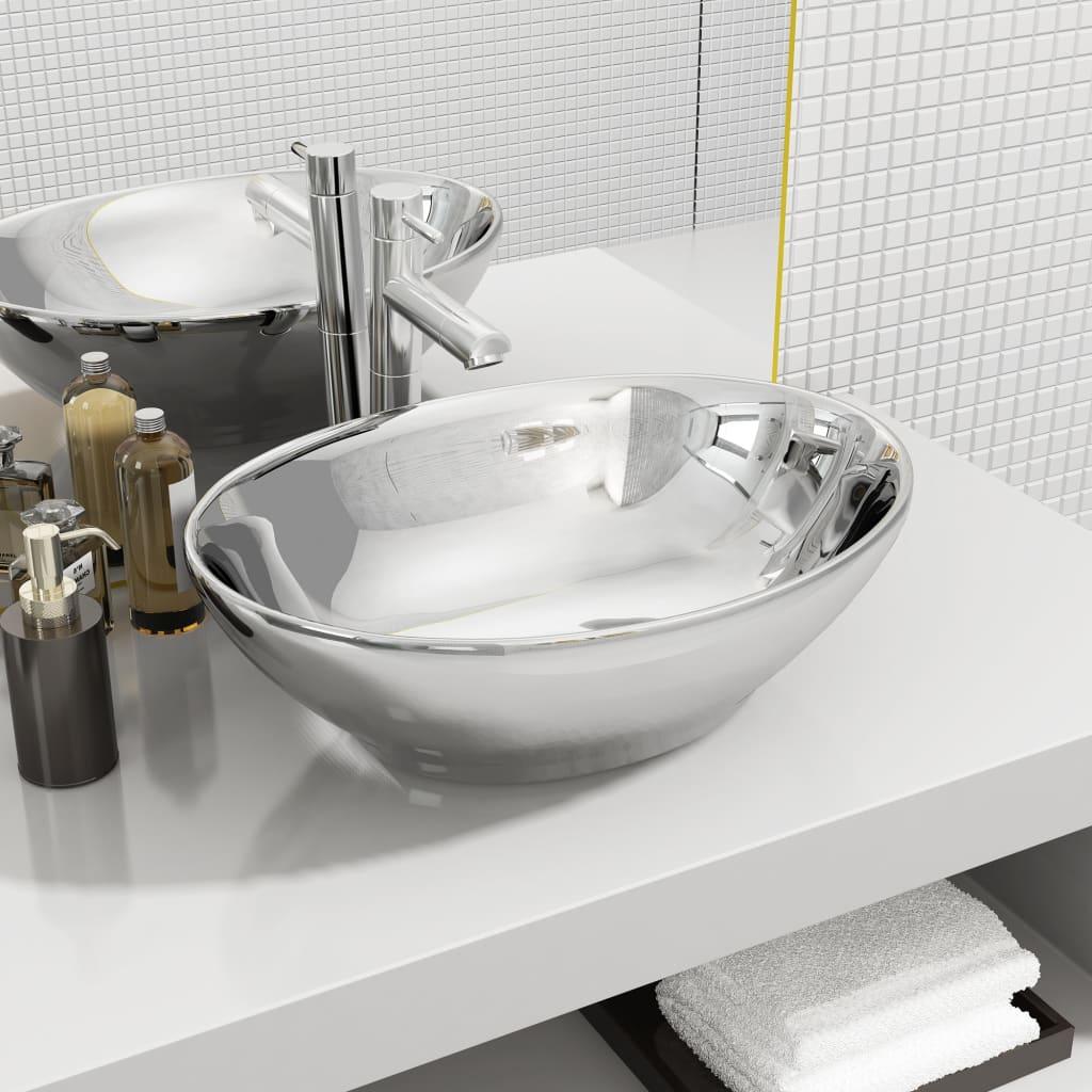 vidaXL Chiuvetă de baie, argintiu, 40 x 33 x 13,5 cm, ceramică vidaxl.ro