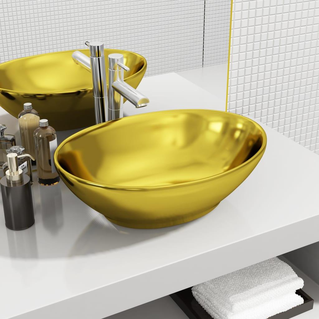 vidaXL Chiuvetă, auriu, 40x33x13,5 cm, ceramică imagine vidaxl.ro