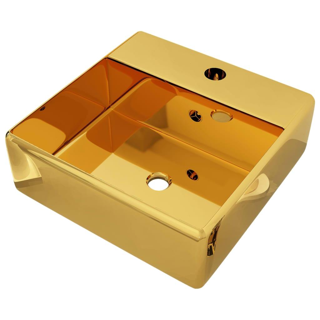 vidaXL Νιπτήρας με Οπή Υπερχείλισης Χρυσός 41 x 41 x 15 εκ. Κεραμικός