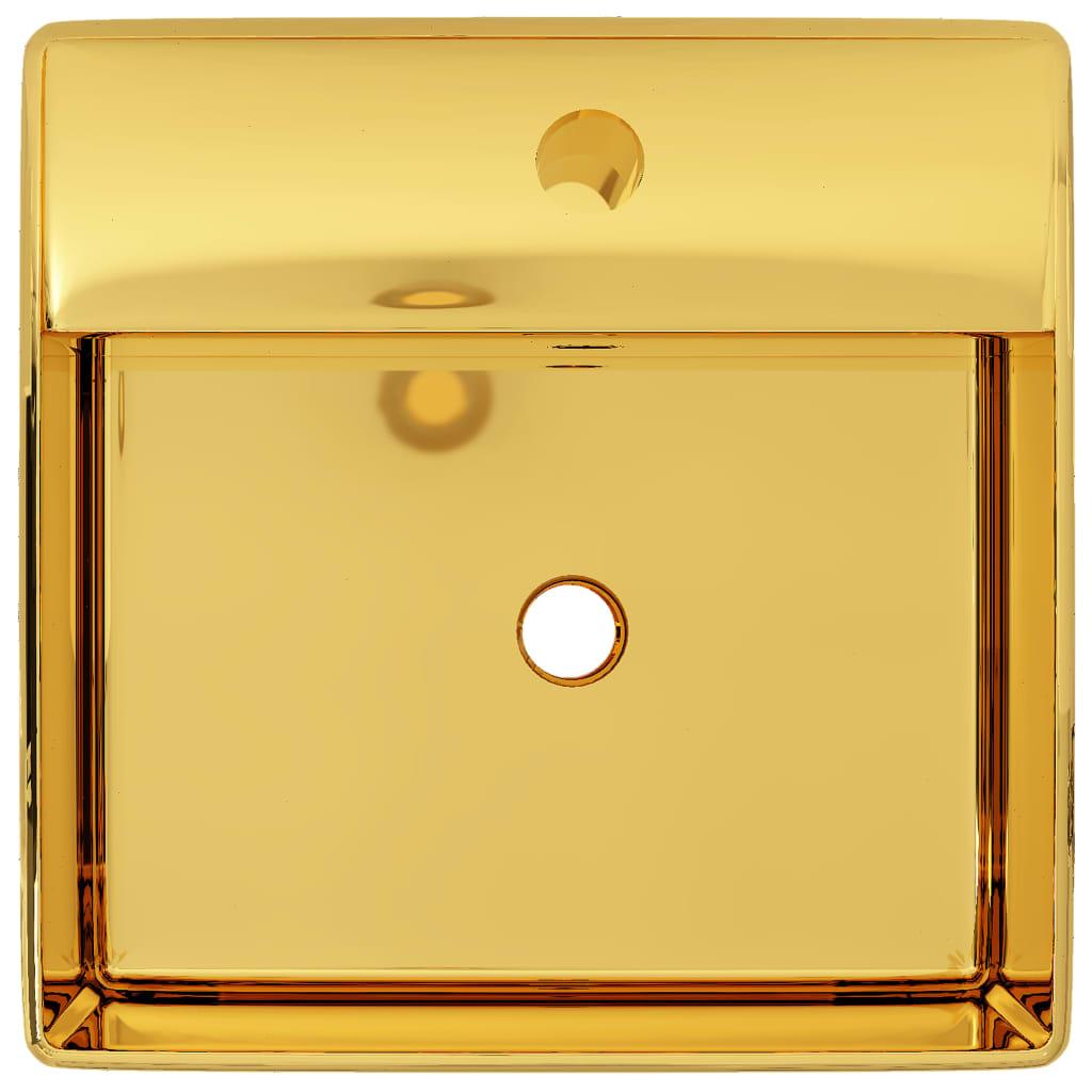 Wastafel met overloop 41x41x15 cm keramiek goudkleurig