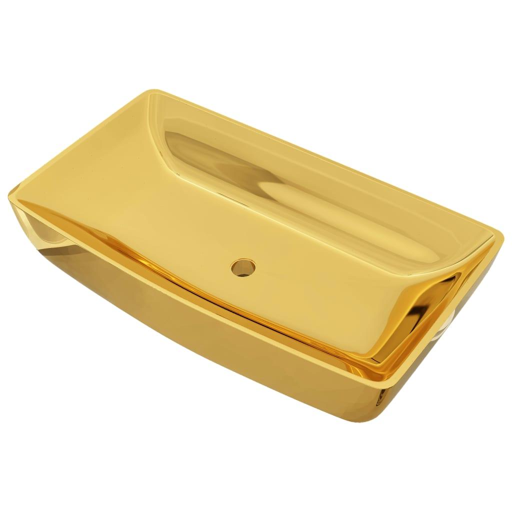 vidaXL Νιπτήρας Χρυσός 71 x 38 x 13,5 εκ. Κεραμικός