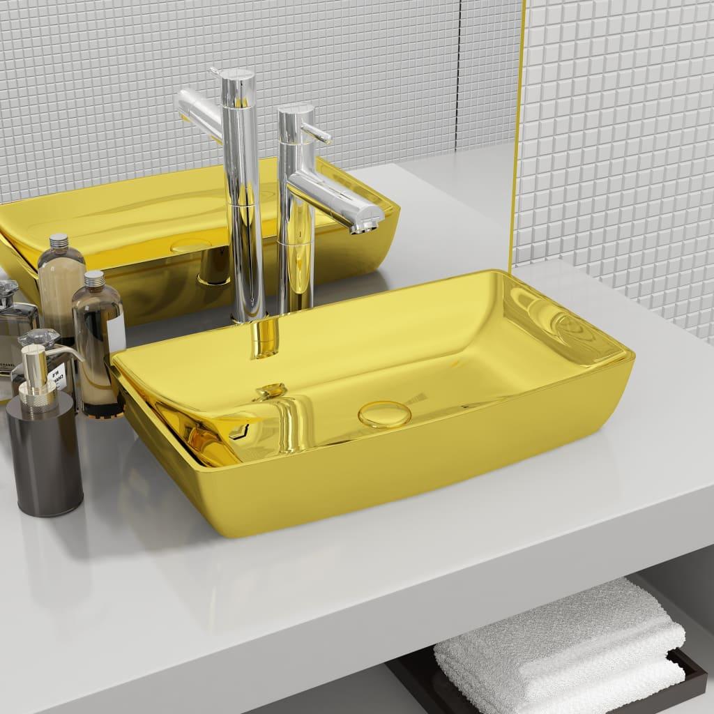vidaXL Chiuvetă de baie, auriu, 71 x 38 x 13,5 cm, ceramică vidaxl.ro