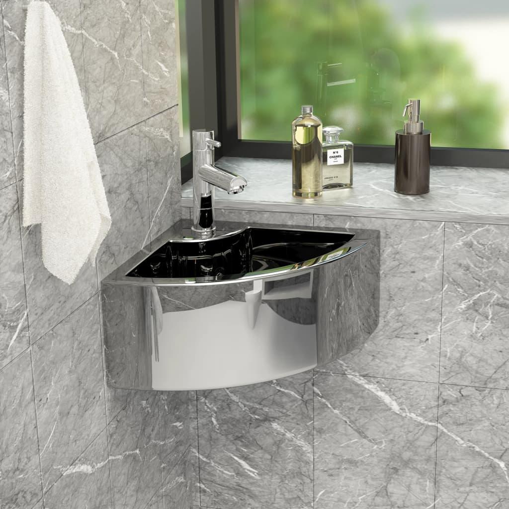 vidaXL Chiuvetă cu preaplin, argintiu, 45 x 32 x 12,5 cm, ceramică vidaxl.ro