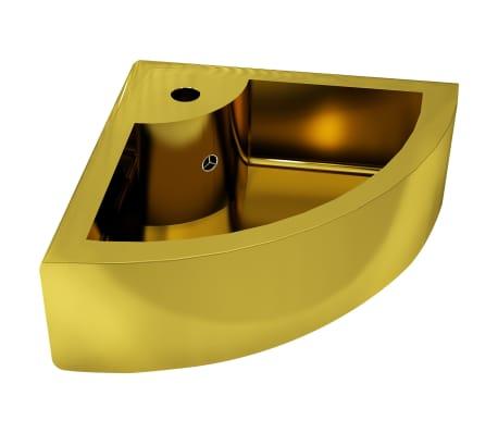 vidaXL Waschbecken mit Überlauf 45 x 32 x 12,5 cm Keramik Golden