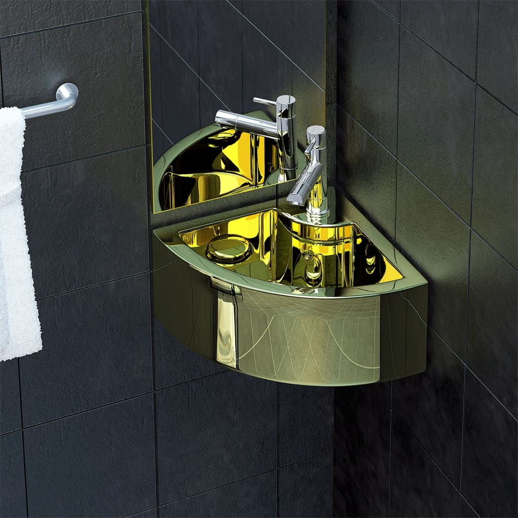 vidaXL Chiuvetă cu preaplin, auriu, 45 x 32 x 12,5 cm, ceramică vidaxl.ro